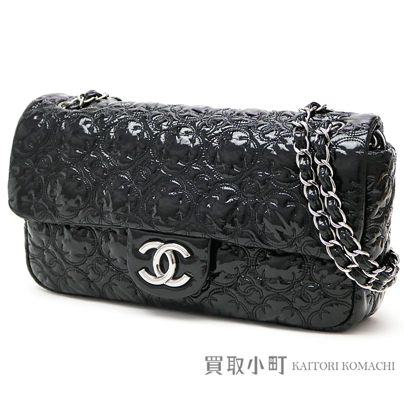Chanel Camellia Sch Flap Bag Black Enamel W Chain Shoulder Handbag Here Mark Quilting 12 Quilted