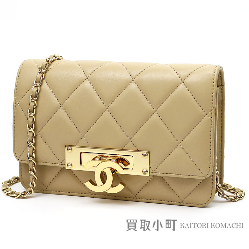 ac636d1d3a36 Take Chanel here mark chain wallet quilting beige lambskin chain shoulder  bag pochette clutch wallet wallet ...