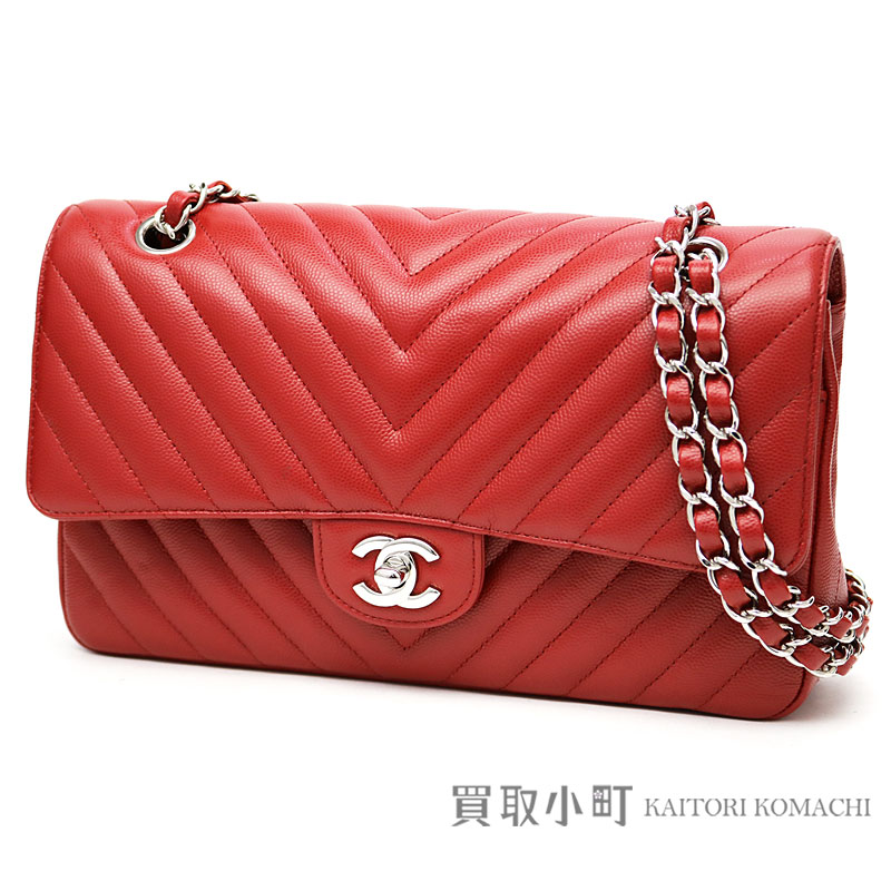 Chanel Chevron caviar skin flap bag red silver metal fittings medium W  chain shoulder bag here mark classical music matelasse quilting V ステッチニ 重蓋  ... 228d25d79e