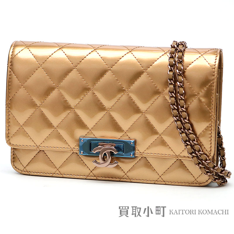 6174d5895105 Take Chanel quilting chain wallet here mark gold patent leather chain  shoulder bag pochette clutch wallet ...