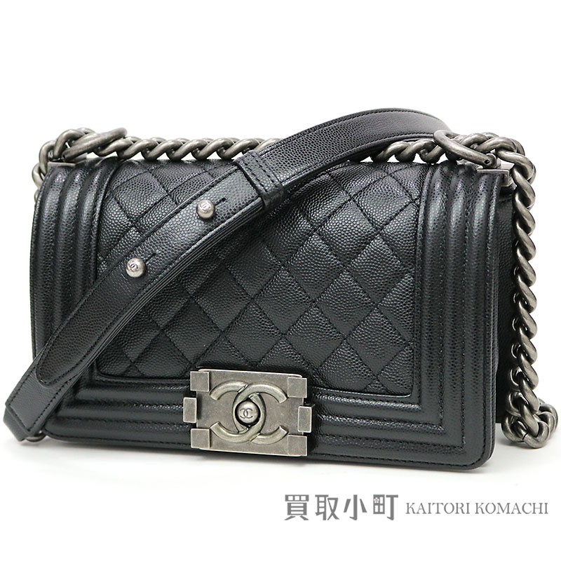 KAITORIKOMACHI  Chanel boy Chanel Small handbag black caviar skin ... 3587e31008c98