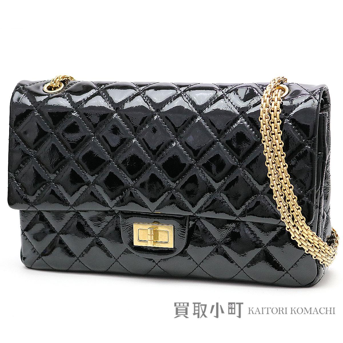 e3679011f296 KAITORIKOMACHI: Chanel maxi handbag 2.55 classical music flap bag large black  patent leather W chain shoulder bag matelasse double flap double-cover ...