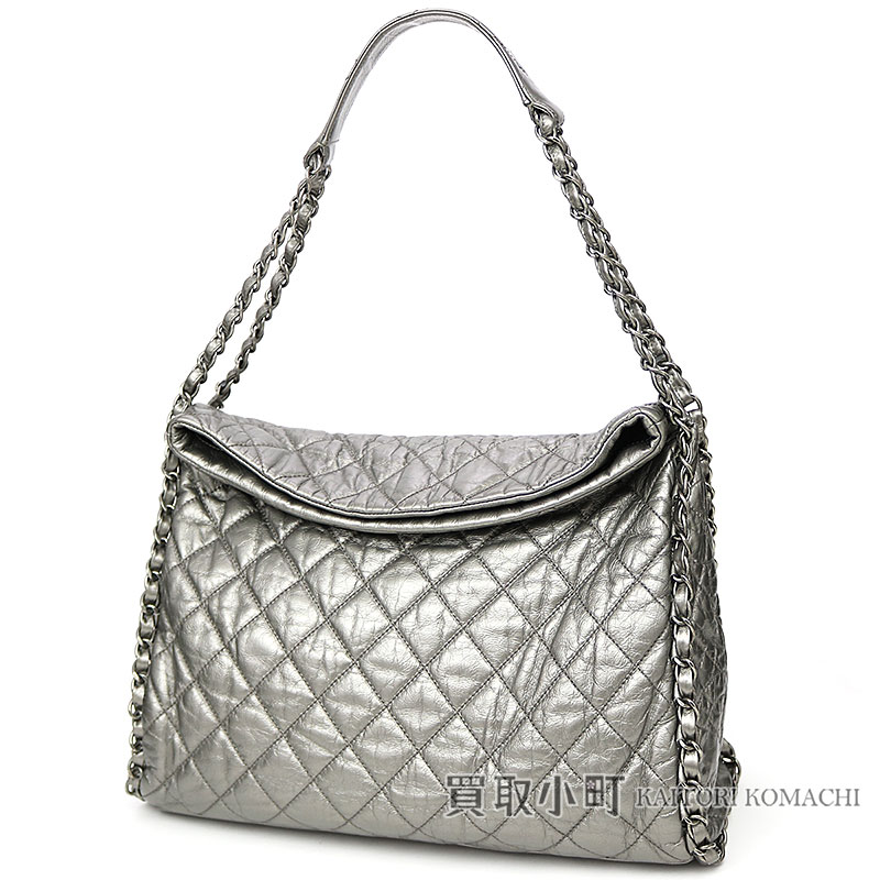ade597dbe644 KAITORIKOMACHI  Chanel chain me quilting Ho baud bag metallic silver ...