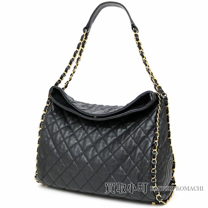 db4b9b36fd0b KAITORIKOMACHI  Chanel chain me quilting Ho baud bag black calfskin ...