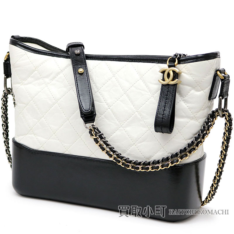 2fbc40feb4e9 KAITORIKOMACHI: Chanel Gabriel do Chanel Ho baud bag white X  ブラックエイジドカーフスキンミディアムチェーンショルダーバッグチェーンバッグ A93824 Y61477 ...