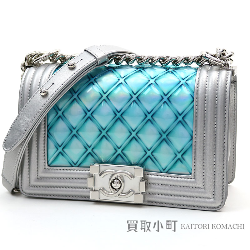 3a49a31554890b KAITORIKOMACHI: Chanel boy Chanel Small handbag PVC & metallic lambskin  blue flap bag chain shoulder bag chain bag quilting A67085 #25 BOY CHANEL  FLAP ...