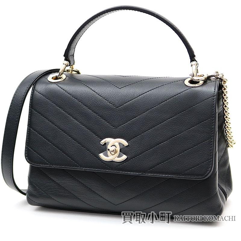 47f7928bb822 KAITORIKOMACHI: Chanel Chevron top steering wheel flap bag Small black  calfskin classical music 2WAY handbag chain shoulder bag V stitch quilting  A57147 #25 ...