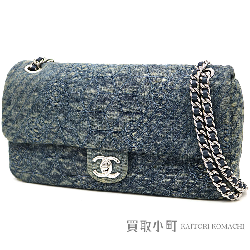 e5452ad1768b Take Chanel denim camellia stitch W chain shoulder bag indigo blue flap bag  chain bag here mark twist lock quilting slant  A66902  16 Denim Camelia Flap  Bag