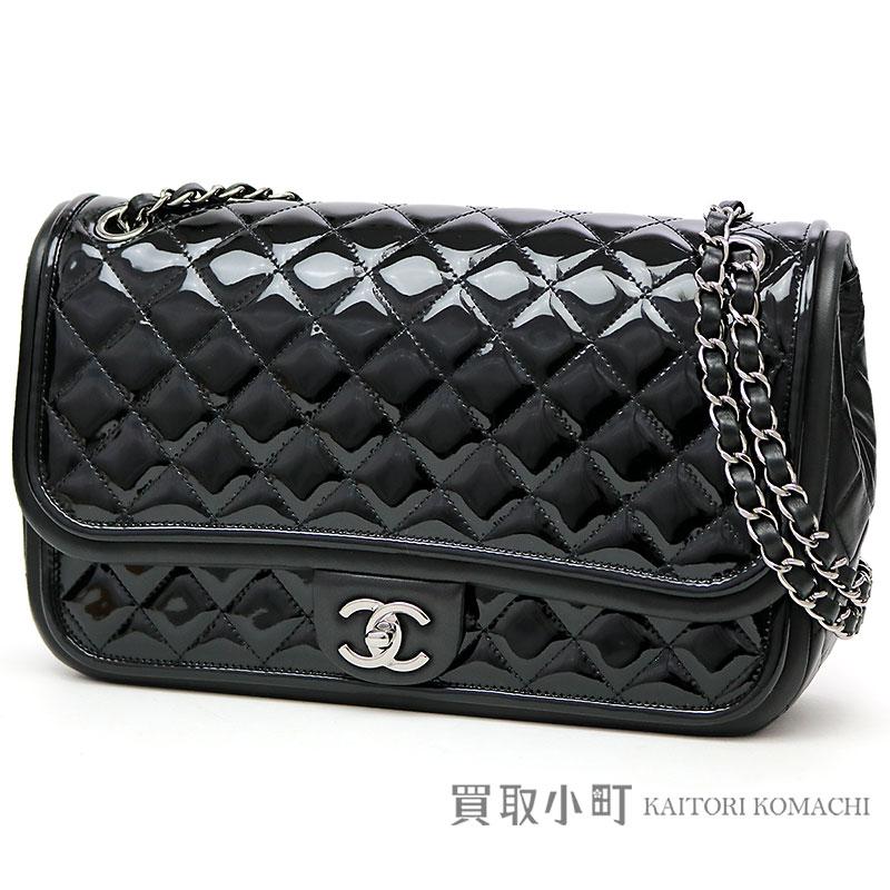 a126c1c7aaead0 KAITORIKOMACHI: Chanel matelasse W chain shoulder bag black patent leather  ruthenium metal fittings classical music here mark twist lock flap bag  chain bag ...