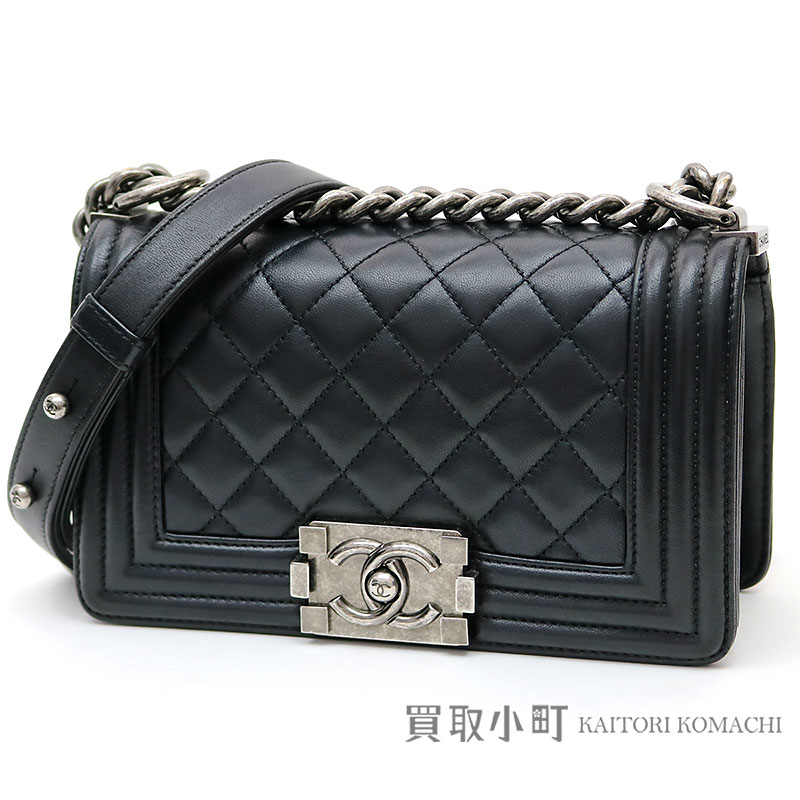 Chanel Boy Small Handbag Black Lambskin Flap Bag Chain Shoulder Quilting A67085 23 Fla