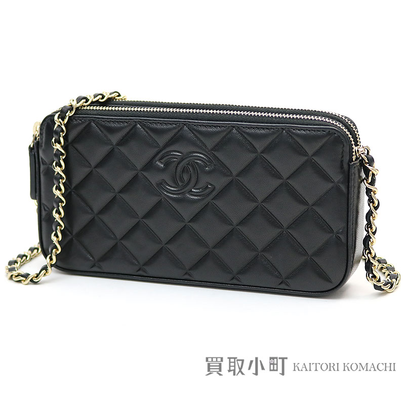 5f00efd147e5 Style of Chanel matelasse chain wallet black lambskin here mark quilting  type push chain shoulder bag ...
