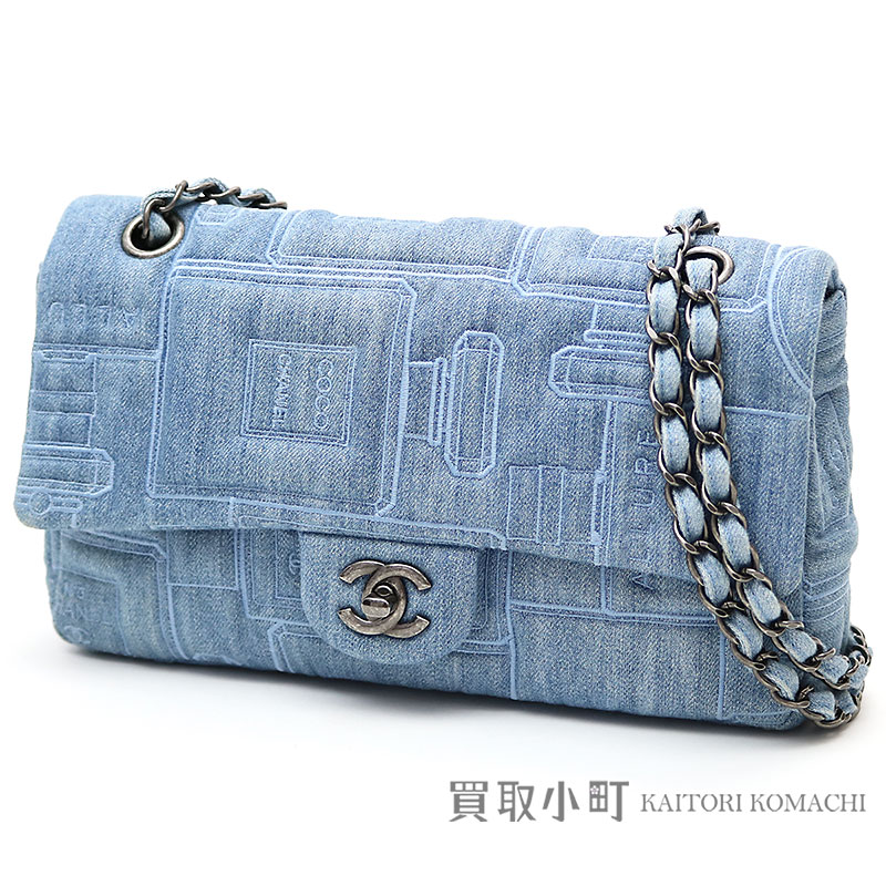 Chanel Denim Perfume Embroidery Flap Bag Blue W Chain Shoulder Here Mark Twist Lock Quilting Pot A91101 22