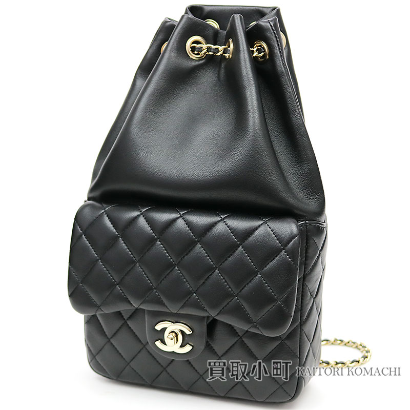 8e13e40d3363 Chanel matelasse backpack black lambskin here mark twist lock flap Small  chain rucksack draw string classical music quilting A94417  21 CC SMALL  QUILTED ...