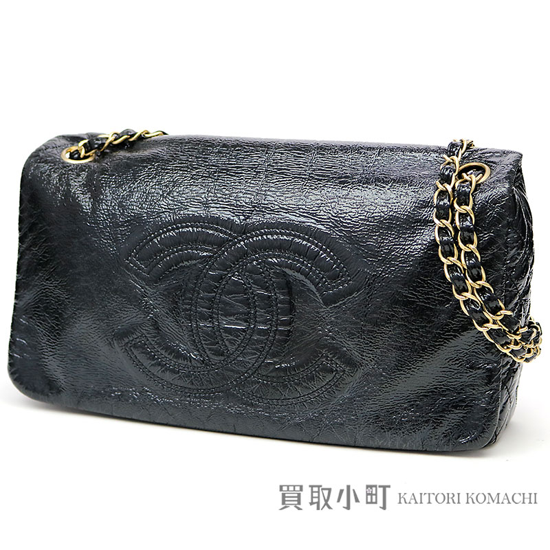 210aff76bce1 KAITORIKOMACHI: Chanel here mark stitch W chain shoulder bag black enamel  quilting matelasse flap bag chain bag CC mark #11 FLAP BAG   Rakuten Global  Market