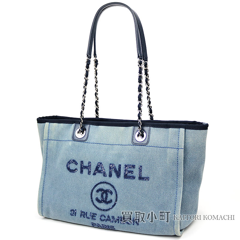 e30ed60964e6 KAITORIKOMACHI: Chanel Deauville MM spangles logo medium shopping bag blue  here mark chain shoulder bag chain Thoth A67001 #23 DEAUVILLE MM SHOPPING TOTE  CC ...