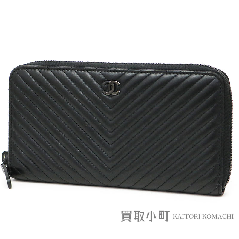 94b1088db283 KAITORIKOMACHI: Chanel Chevron quilting zip wallet black lambskin round  fastener long wallet classical music matelasse wallet V stitch A50097 #22  CHEVRON ...