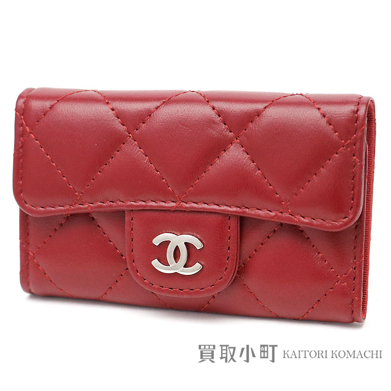 969a4f6651 Red lambskin key case six key ring key ring matelasse here mark A31503 #17  CLASSIC BLACK CC LOGO 6 KEY HOLDER for six Chanel thymeless classic ...