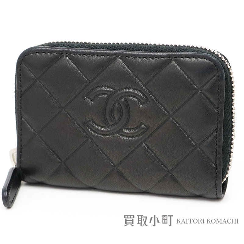 0de3e48ea11c21 KAITORIKOMACHI: Style of Chanel round zip coin Perth black lambskin here  mark diamond quilting type push classical music coin case card case  matelasse ...