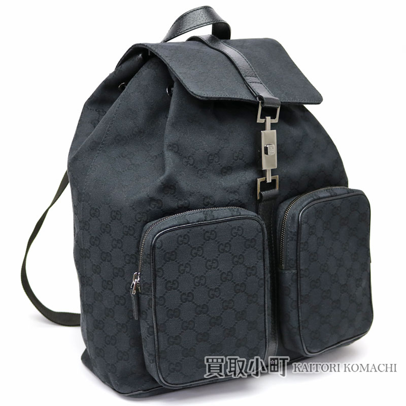 980c54630a38 Gucci Jackie GG canvas backpack black rucksack day pack men gap Dis man and woman  combined use 114551 GG CANVAS BACK PACK