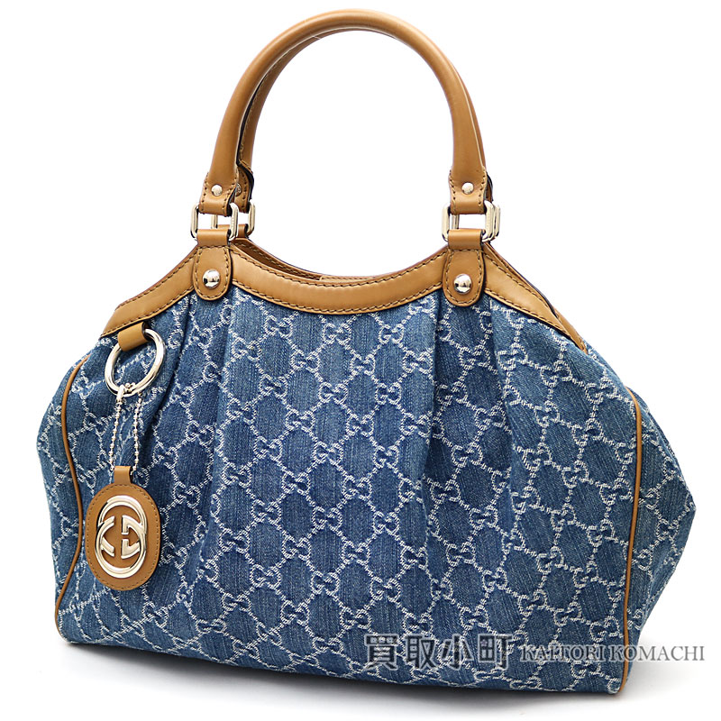 39e574b9373 KAITORIKOMACHI  Gucci Sioux key GG denim tote bag medium size blue X ...
