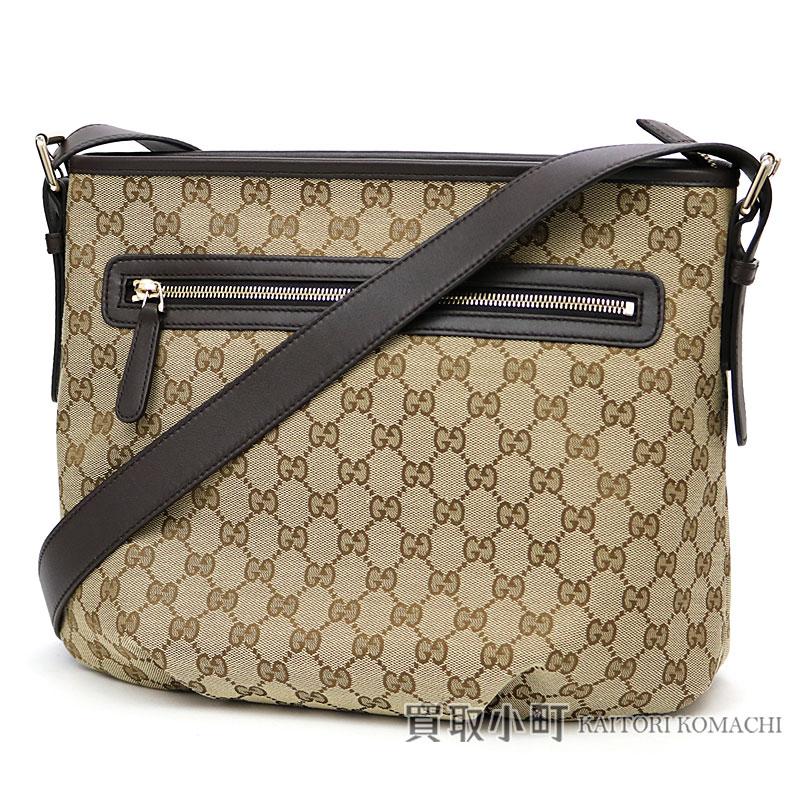 39dc42a7b95 KAITORIKOMACHI  Take Gucci GG canvas shoulder bag beige X dark brown ...
