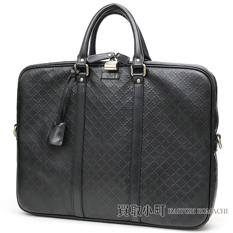グッチ 【GUCCI】 ディアマンテレザー ブリーフケース ブラック カーフスキン ジップトップ ダブルハンドル ビジネスバッグ 書類鞄 201480 AIZ1G 1000 Diamante Leather Briefcase Business Bag【ABランク】【中古】