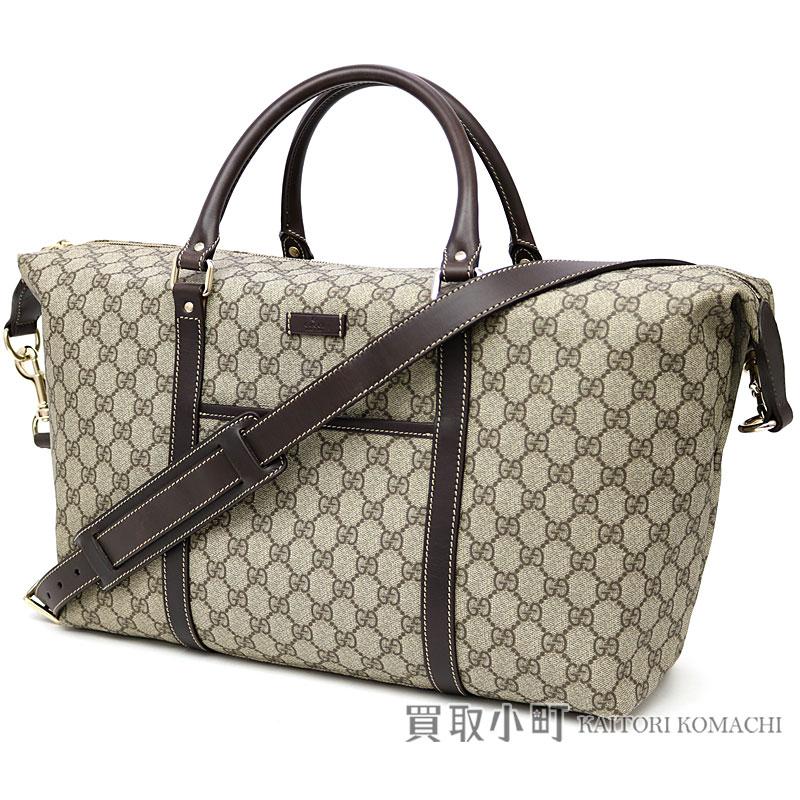 64844eea821 KAITORIKOMACHI  Gucci GG plus duffel bag beige X dark brown leather ...