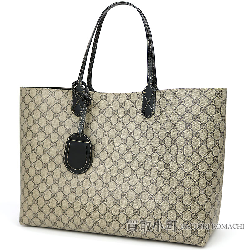 8c145c614692 KAITORIKOMACHI: Gucci reversible GG leather tote bag shoulder bag large  size black leather X GG スプリームキャンバスショッピングバッグショルダーバッグ ...
