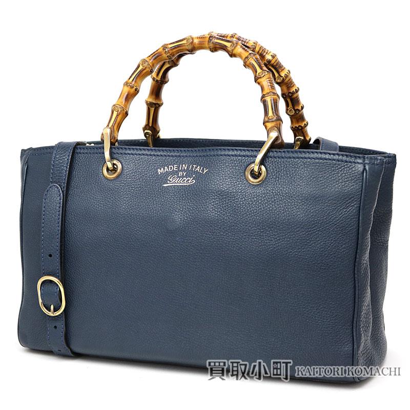 83ed888c2aa Gucci bamboo shopper medium size leather tote bag dark blue calfskin bamboo  steering wheel handbag 2WAY shoulder bag 323660 AH90G BAMBOO SHOPPER MEDIUM  TOTE