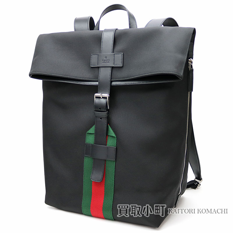 a6970f6c9112d2 337075 Gucci Gucci band black techno canvas backpack signature Web detail  rucksack day pack men KWT6N ...