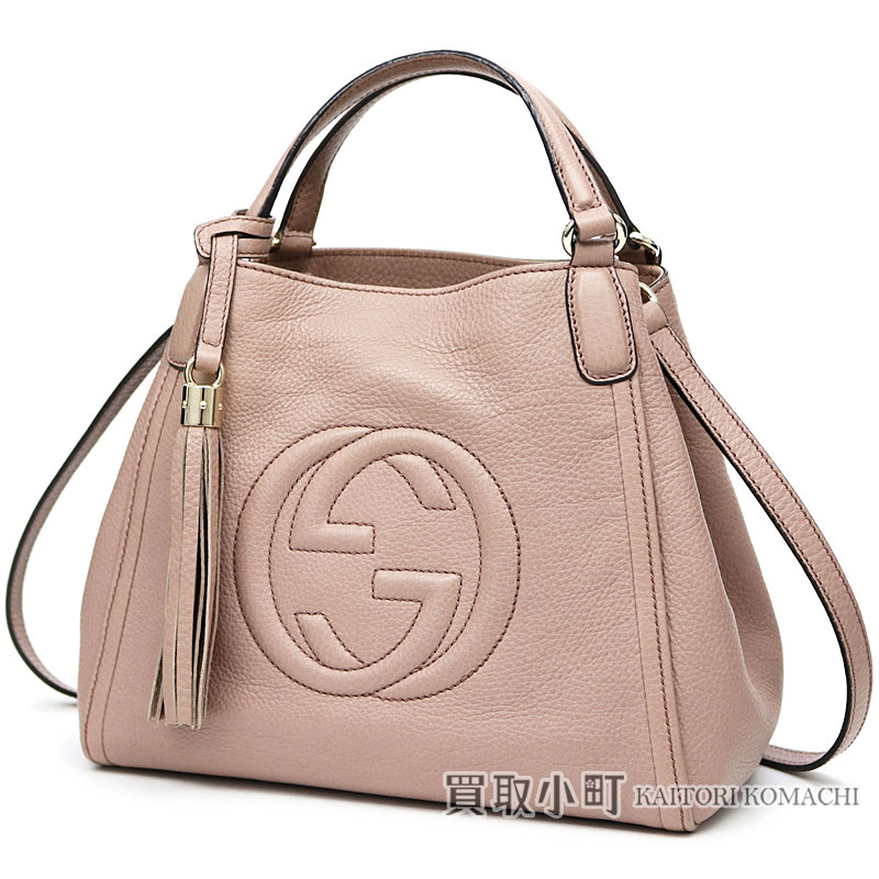 2a321f02e KAITORIKOMACHI: Take Gucci Soho mini-shoulder bag Japanese attributive  light pink calf-leather tassel charm interlocking grip G 2WAY tote bag mini- bag slant ...