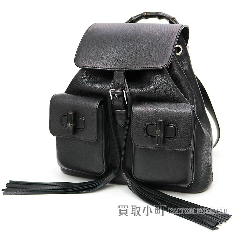 9d5d52c562d KAITORIKOMACHI  Gucci bamboo leather backpack black tassel calfskin ...