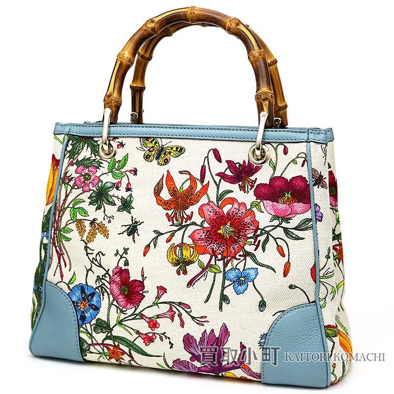 00d46d1f4 KAITORIKOMACHI: Limited bamboo shopper Flora canvas Small tote bag calfskin  bamboo steering wheel handbag floral design 336032 BAMBOO SHOPPER SMALL of  the ...