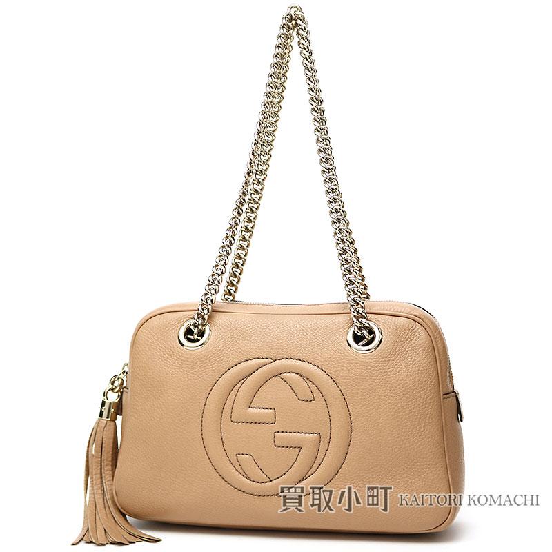 32283516a90 KAITORIKOMACHI  Gucci Soho shoulder bag beige calf-leather tassel ...