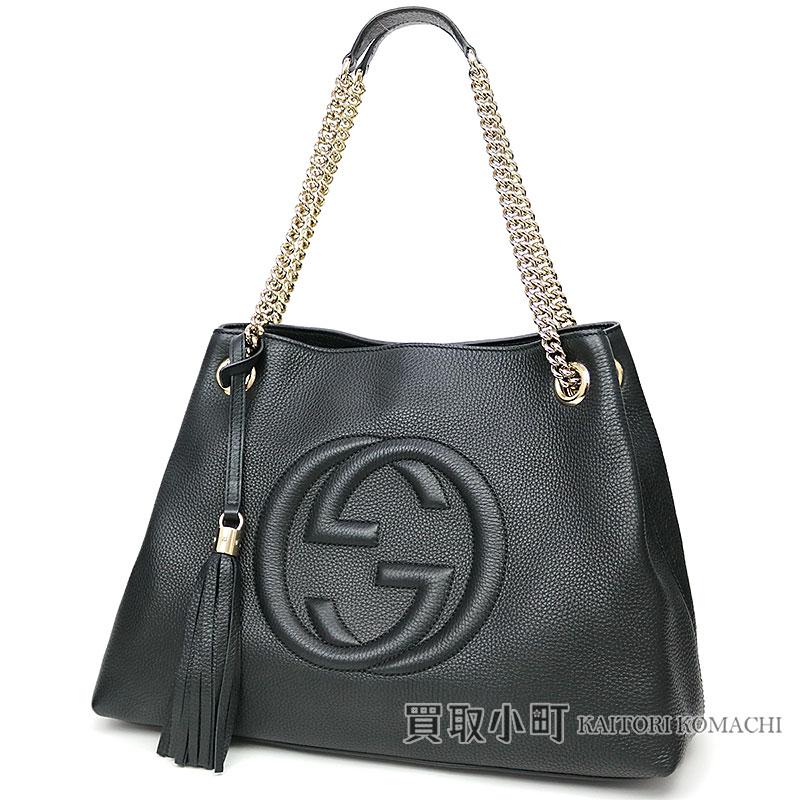 a3a5f1fd5 Gucci Soho medium shoulder bag black calf-leather tassel charm interlocking  grip G chain shoulder ...
