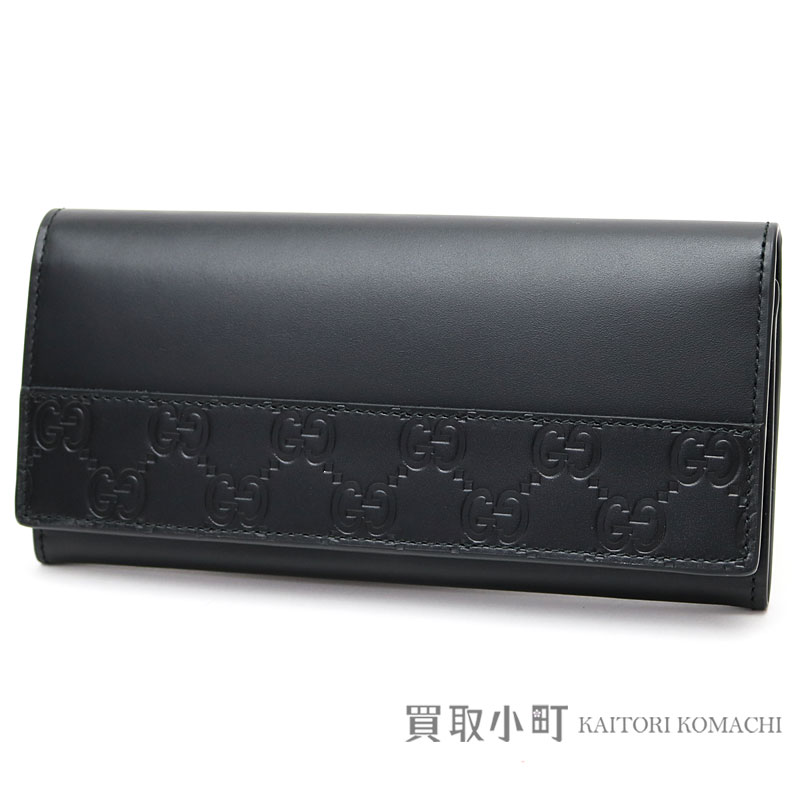 bcf540414c7 Gucci Gucci signature leather long wallet black GG calfskin folio long  wallet men wallet Gucci sima 408837 CWD2N 1000 SIGNATURE LEATHER WALLET
