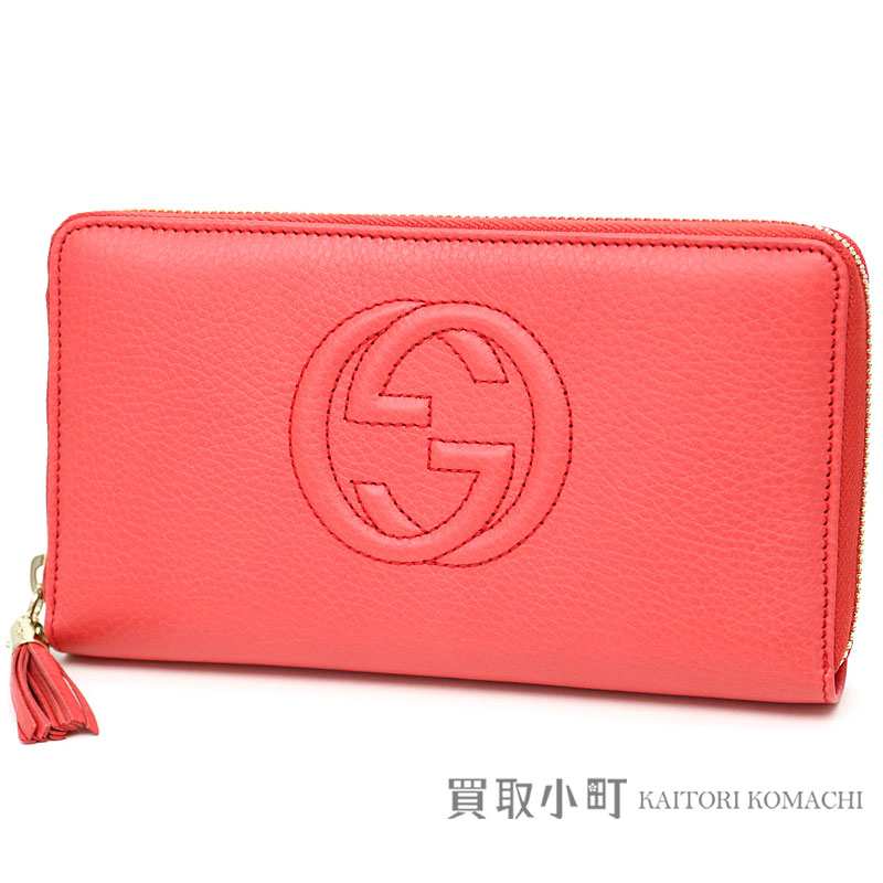 ea0b017e55d Gucci Soho leather zip around wallet salmon pink interlocking grip G stitch  tassel charm round fastener long wallet wallet 308280 A7M0A 6620 Soho Zip  around ...