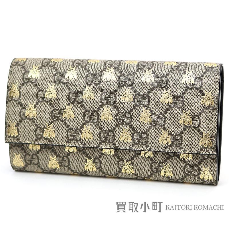 c23de8a315a0 Gucci beep lint GG スプリームキャンバスコンチネンタルウォレットベージュフラップ long wallet wallet double  G bee ...