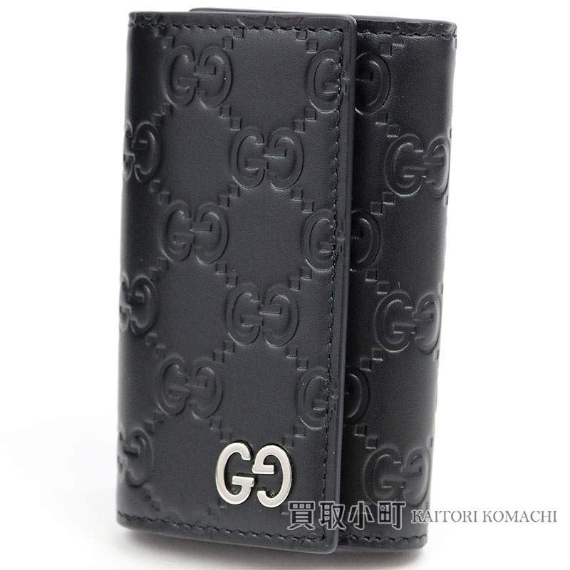 f3c9616ce2 Gucci Gucci signature leather key case GG metal six black key ring key ring  calfskin double G 473924 CWC1N 1000 LEATHER KEY CASE