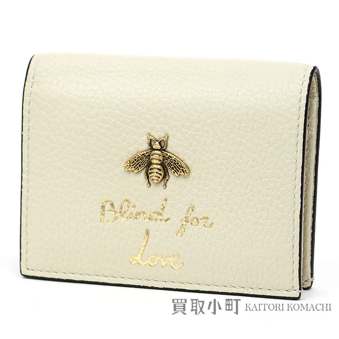 56e976f7 White leather B card case business card holder compact wallet fold wallet  wallet bee bee 460185 A7M0T 9022 ANIMALIER CARD CASE with the Gucci anima  ...