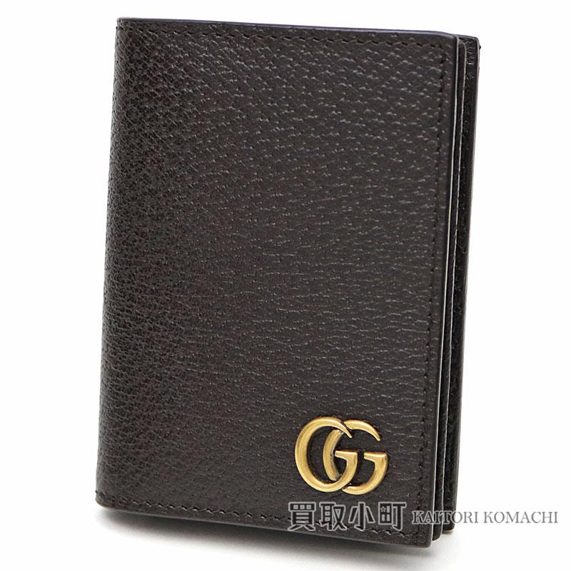 05ec9b1158d855 KAITORIKOMACHI: 428737 Gucci GG マーモントレザーカードケースダークブラウンカーフスキン card case  business card holder double G-mans DJ20T 2145 GG MARMONT ...
