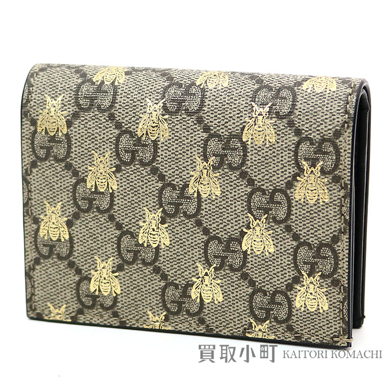 b465de782135 Beige compact wallet folio wallet wallet double G bee bee 508757 9F26G 8319 Bee  GG Supreme ...