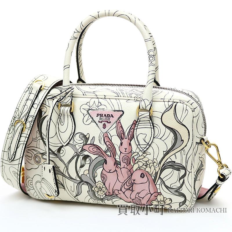 3e755804c52d Prada rabbit print embossing leather handbag pink beige calfskin 2WAY  shoulder bag handbag rabbit 1BB113 2EAO F0384 LEATHER HAND BAG GLACE CALF  RABB OPALINE