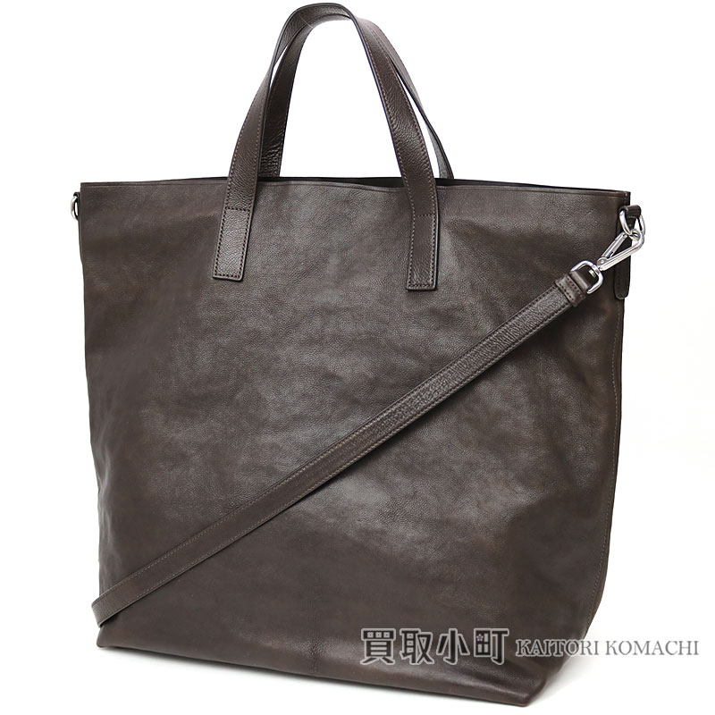 e228a9ca68c8 KAITORIKOMACHI  Prada leather tote bag triangle logo dark brown ...