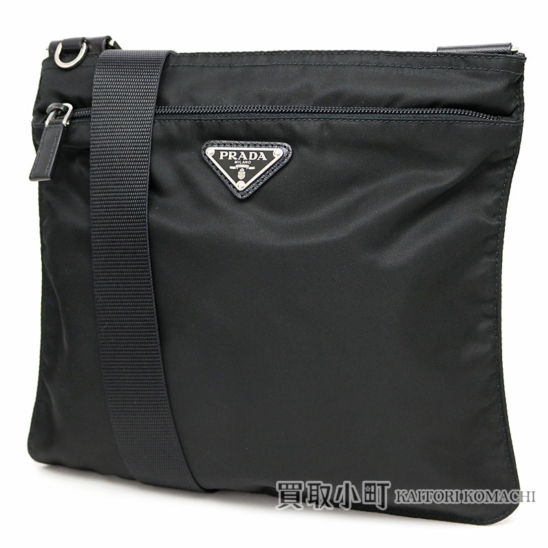 85d976417c10 KAITORIKOMACHI  Prada triangle logo flat messenger bag black ...