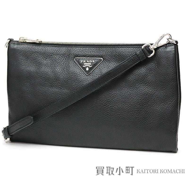 0e758698c8 Take Prada leather shoulder bag black triangle logo calfskin clutch bag  pochette slant; 1BH997 CLUTCH ...