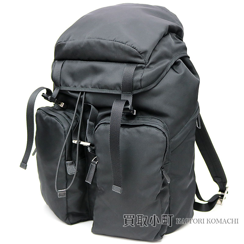 59094bf90db271 Prada fabric backpack black triangle logo nylon rucksack rucksack triangle  ロゴテスート 2VZ065 973 F0002 TESSUTO MONTAGN ...