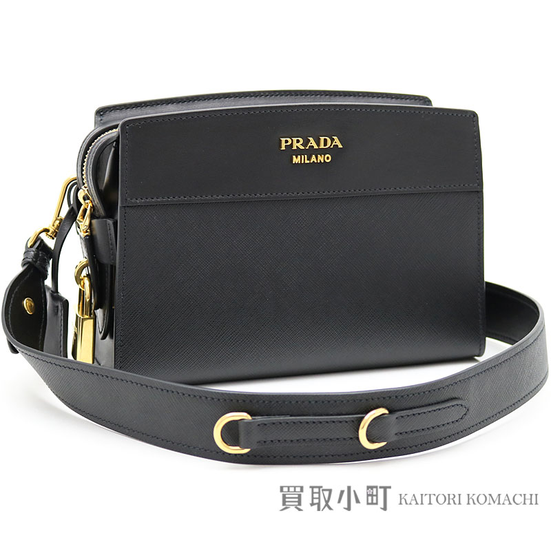ccb99725 プラダエスプラナードバッグサフィアーノ X city calf metal logo black leather shoulder bag  clutch bag 1BH043 2EVU F0002 PRADA ESPLANADE BAG SAFFIANO+CITY CALF NERO