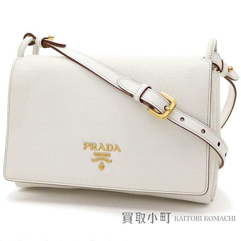 bb3beab4b42 KAITORIKOMACHI: Take Prada leather shoulder bag metal logo clutch bag  slant; 1BH031 2BBE F0009 VIT.DAINO BIANCO | Rakuten Global Market