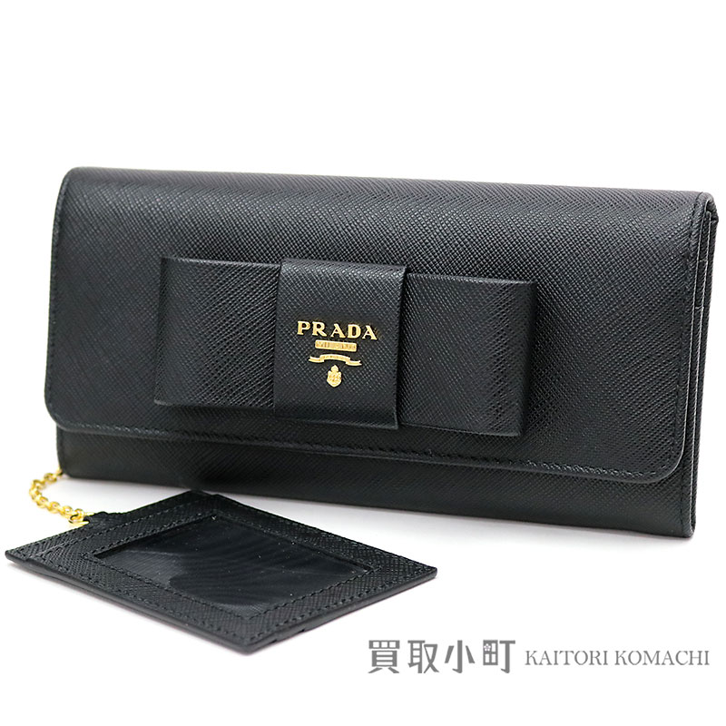 5643765dc8a4 KAITORIKOMACHI: Card case wallet bow tie 1MH132 ZTM F0002 SAFFIANO FIOCCO  NERO ZIP FLAP WALLET with head wallet pass case with プラダサフィアーノリボン ...
